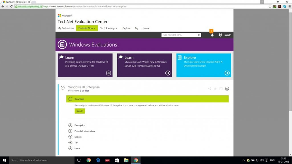 Technet Evaluation Center webpage to download windows 10 Enterprise