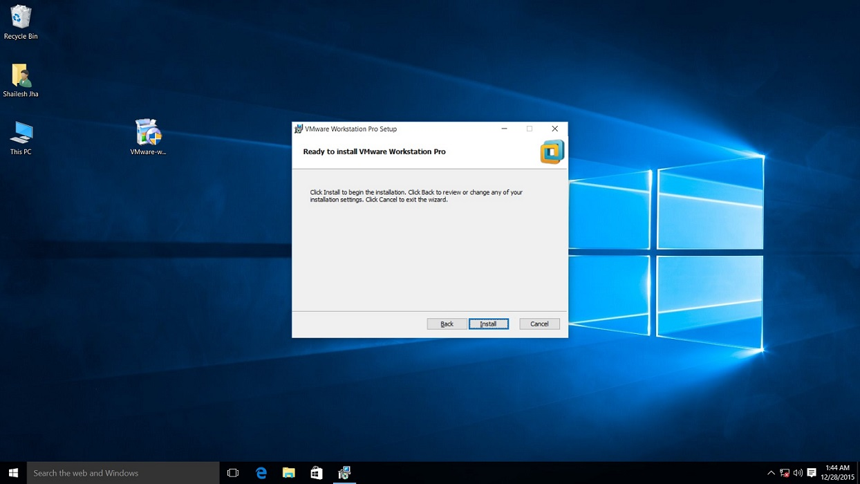 Screenshot for VMware Workstation 15 pro installation begin confirmation dialog box on windows 10.