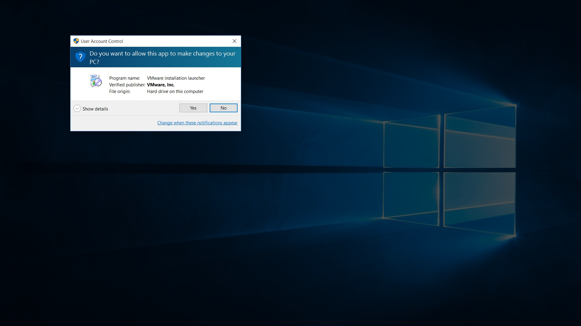 VMware Workstation 12 Pro installer windows 10 UAC screenshot