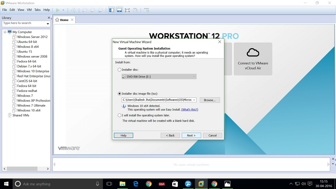 VMWare Workstation 12 select the Windows 10 Enterprise Installer ISO file.