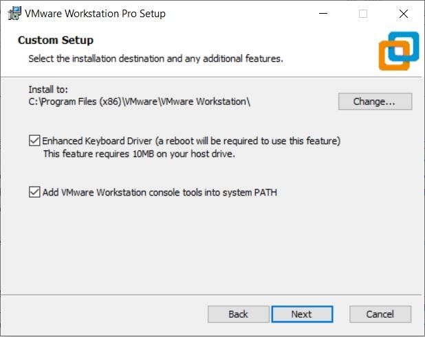VMware Workstation 16 Pro installation - Select Installation Folder