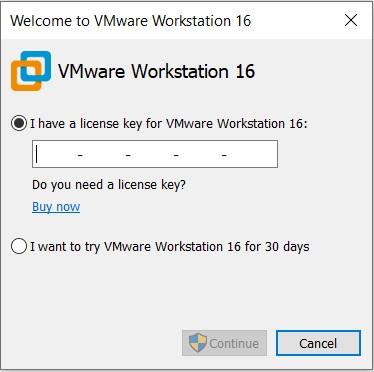 VMware Workstation - Enter License