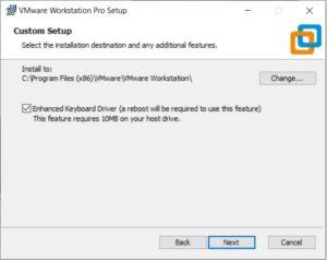VMware Workstation 15.5 Pro installation - select installation folder