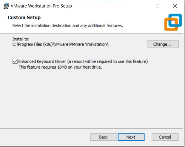 VMware Workstation 15.5 Pro installation - select installation folder