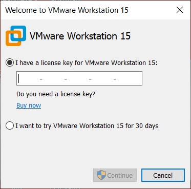 VMware Workstation - Enter License
