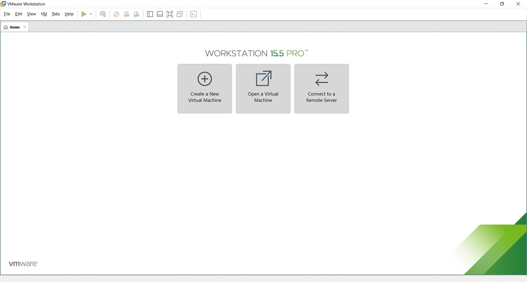 VMware Workstation 15.5 Pro home screen