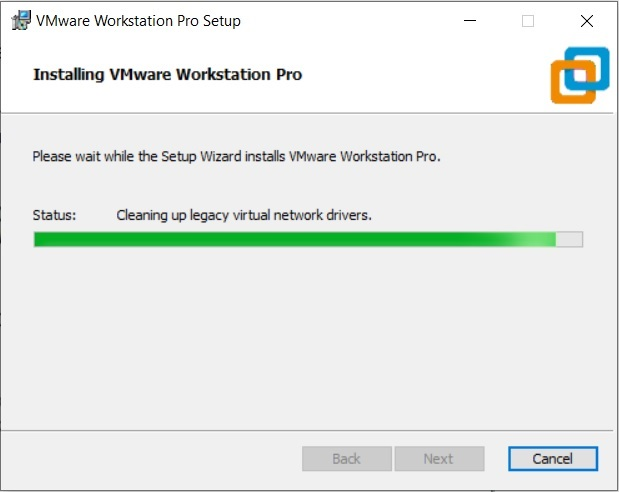 VMware Workstation 15.5 pro installation process