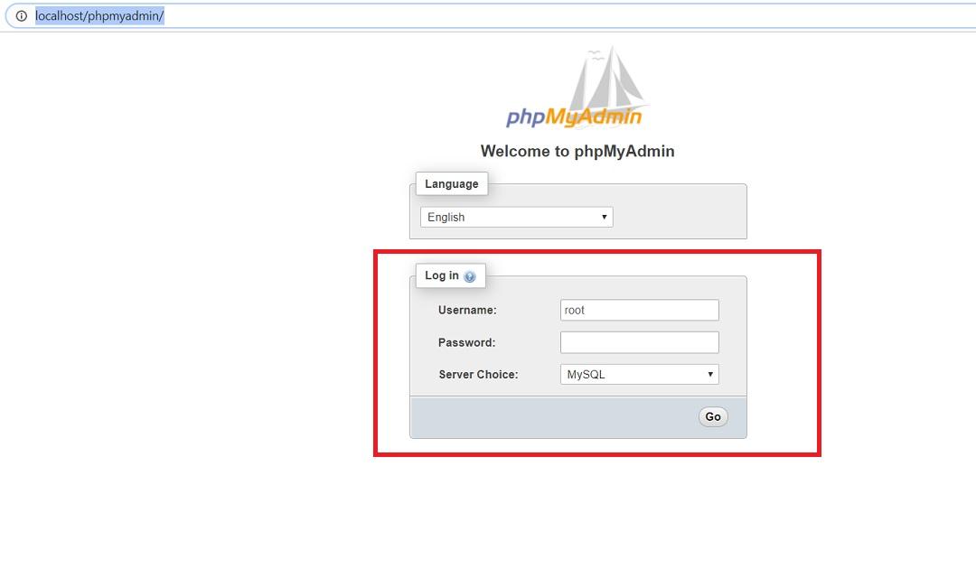 phpMyAdmin login page