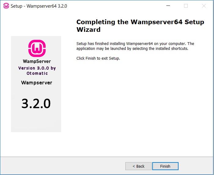 WAMP Server Installation Complete
