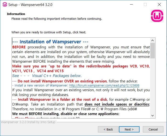 WAMP Server Installation - Information