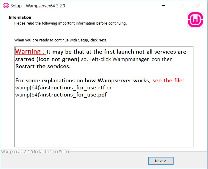 WAMP server startup warning
