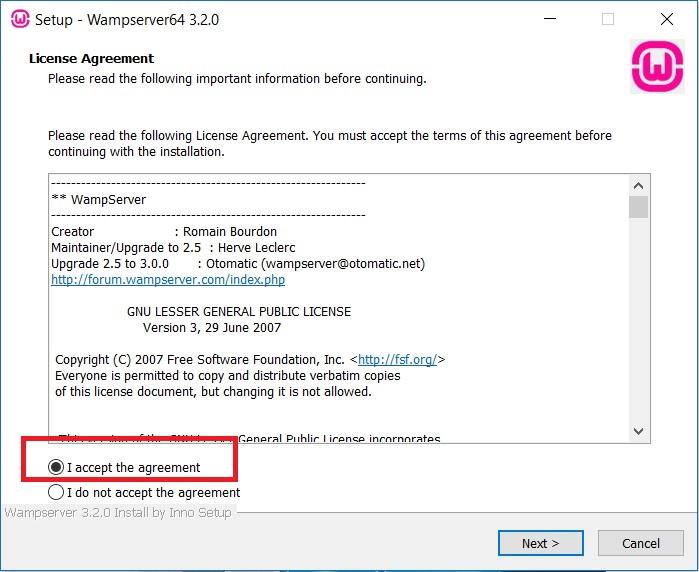 WampServer installation Licence agreement Screenshot