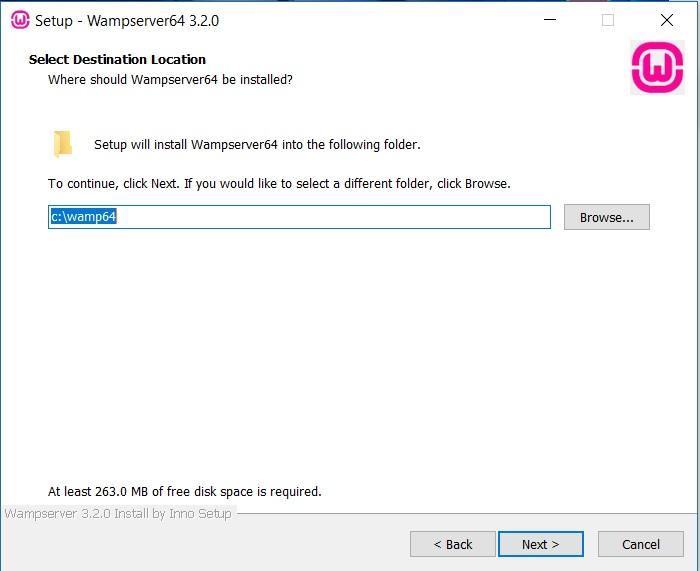 WampServer Installation- Select destination folder dialog box