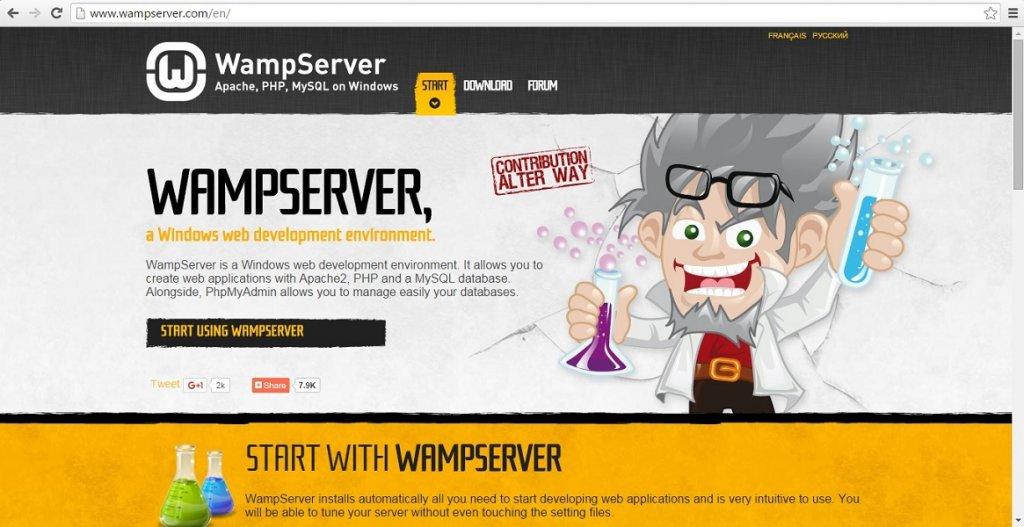 WampServer website Homepage Screenshot.