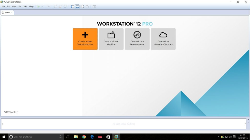 Vmware Workstation 12 home tab screenshot.