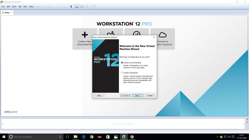 Vmware workstation 12 new virtual machine setup wizard screenshot