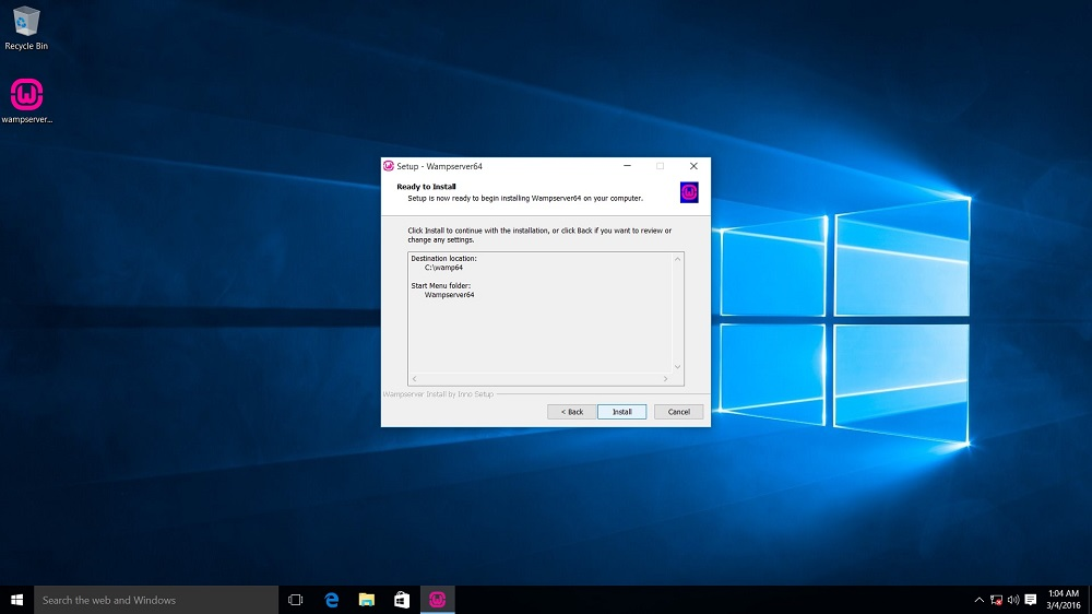 WampServer Installation Ready to Install Dialog box