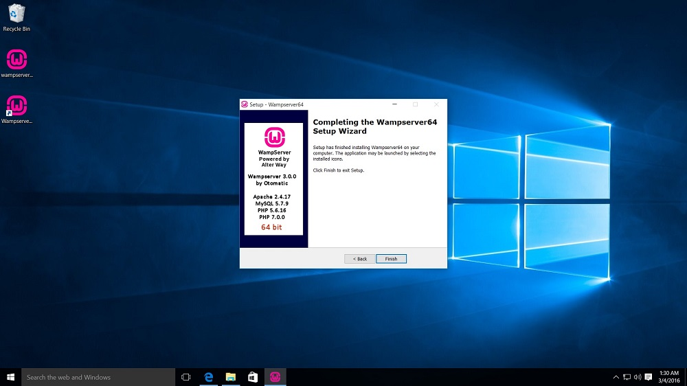 WampServer Installation complete dialog box
