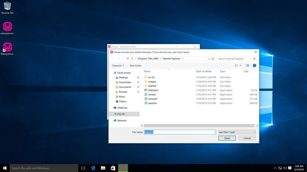 WampServer installation choose default browser other than Internet Explorer dialog box screenshot