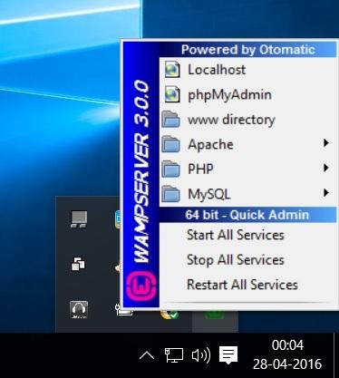 WampServer options Screenshot