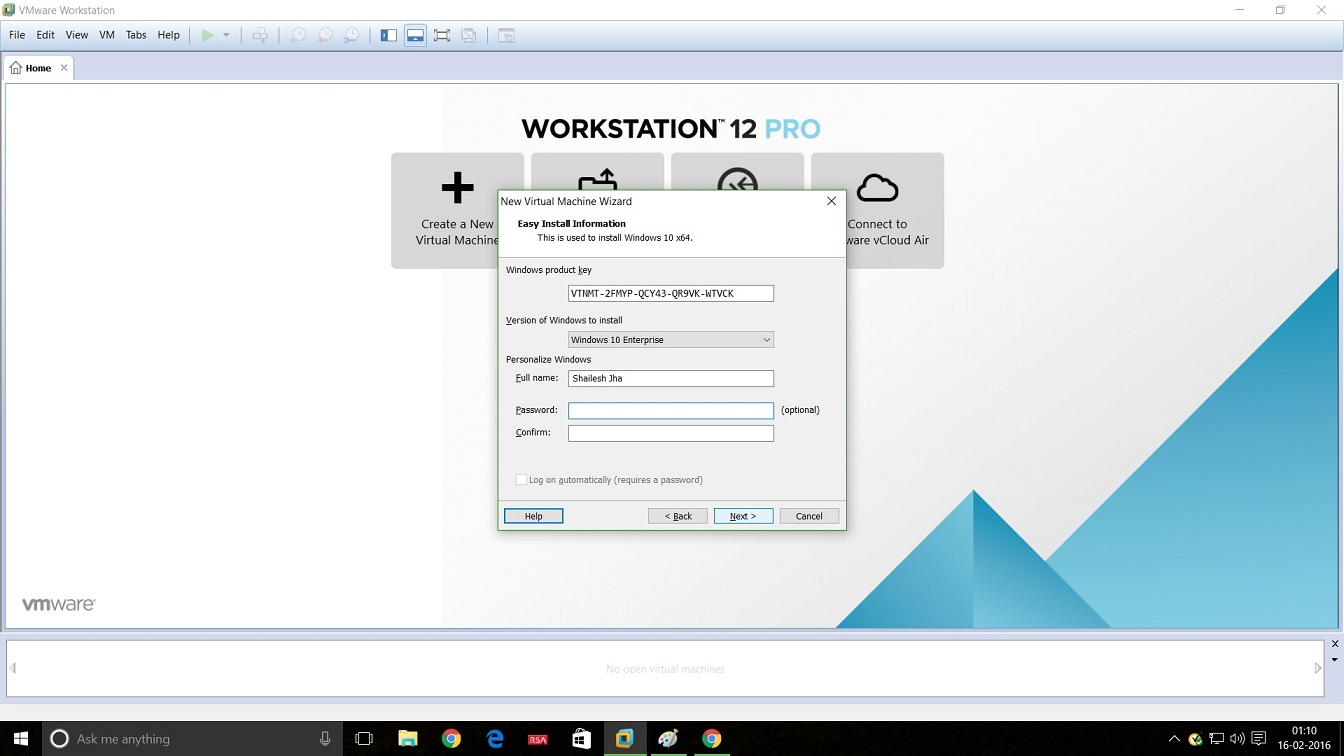 VMware Workstation 12 Windows 10 installation enter product key, Username and Password screenshot
