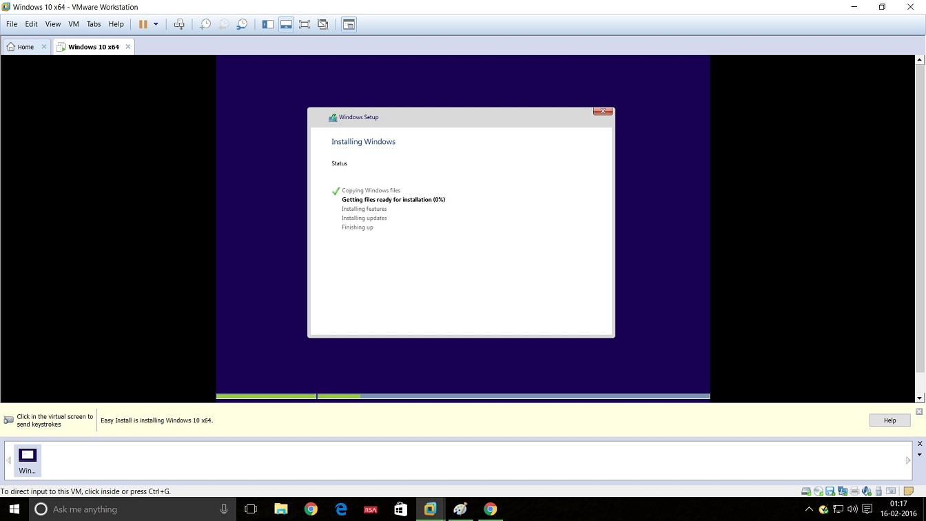 Screenshot of VMware Workstation 12 Windows 10 installation - installing windows