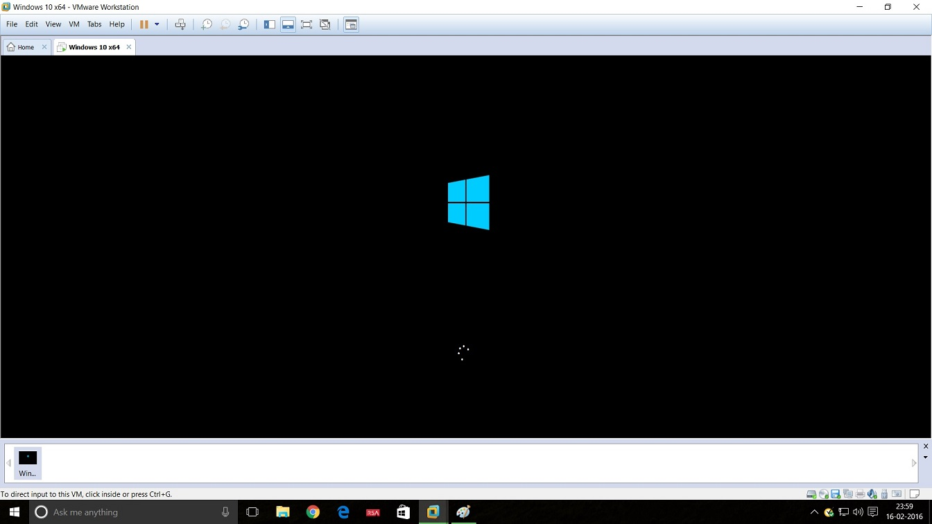 Screenshot of VMware Workstation 12 Windows 10 installation restarting windows 10