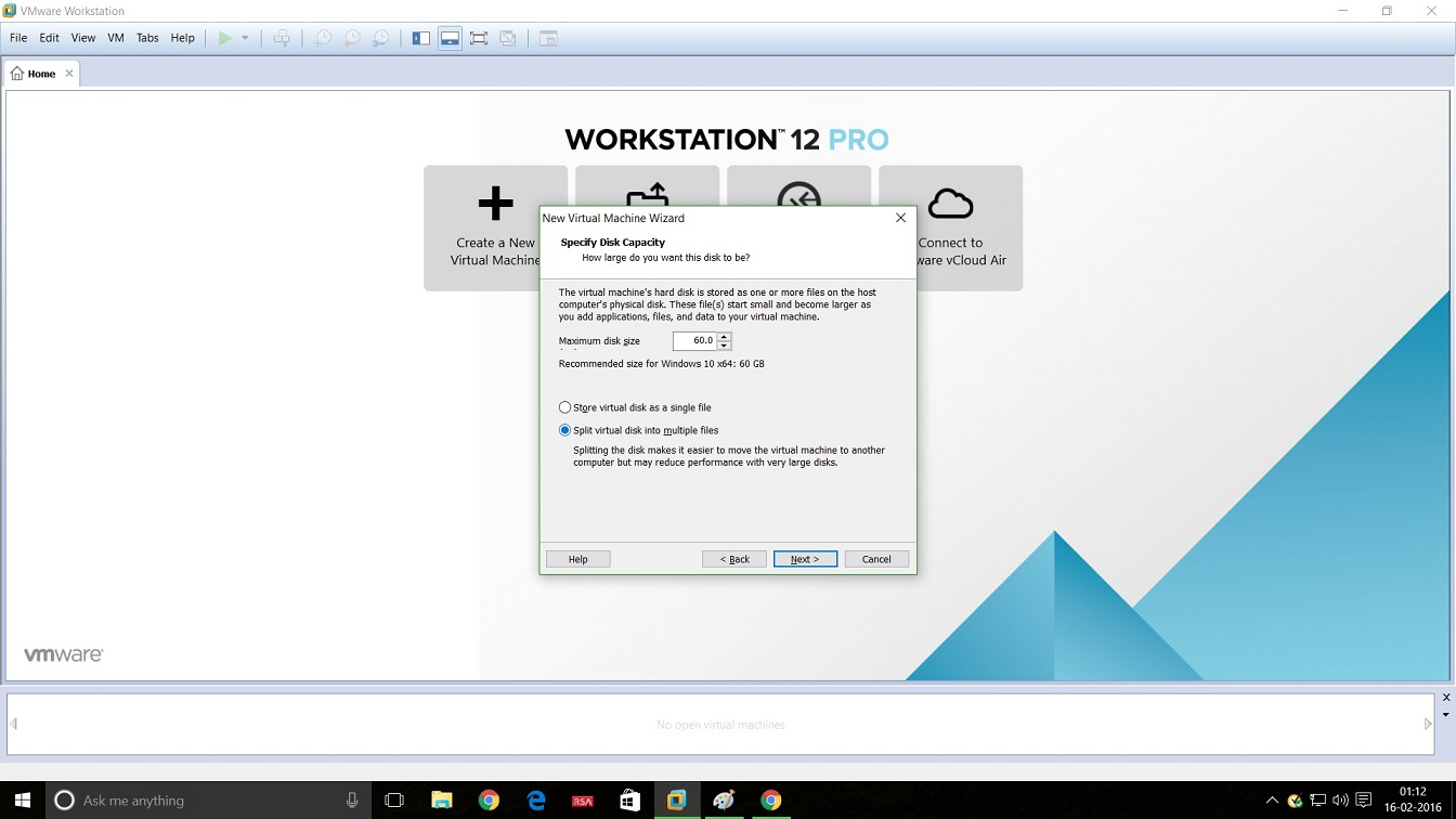 Screenshot of VMware Workstation 12 windows 10 installation specify disk capacity dialog box