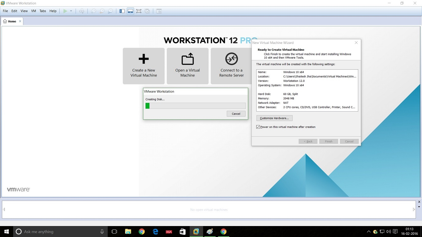 Screenshot of VMware Workstation 12 Windows 10 installation - virtual disk creation progress bar