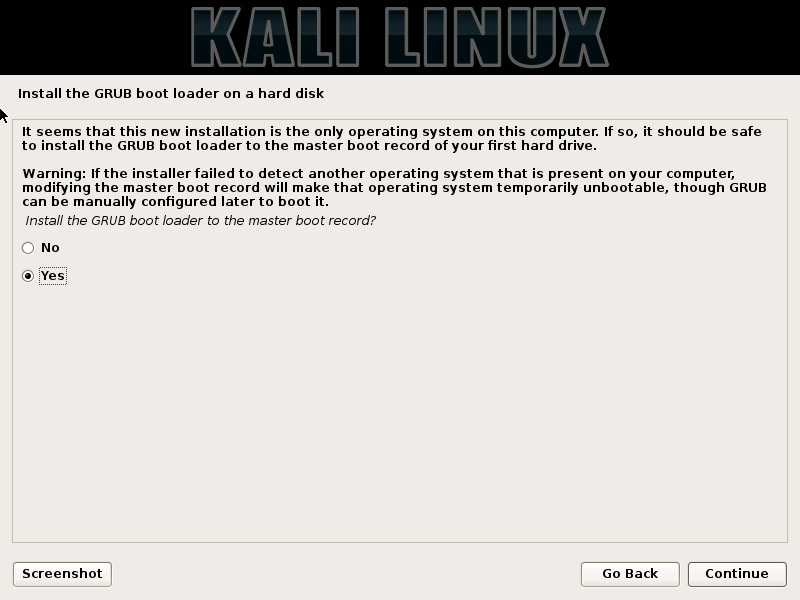 Kali Linux Installation - Install GRUB boot loader dialog box screenshot