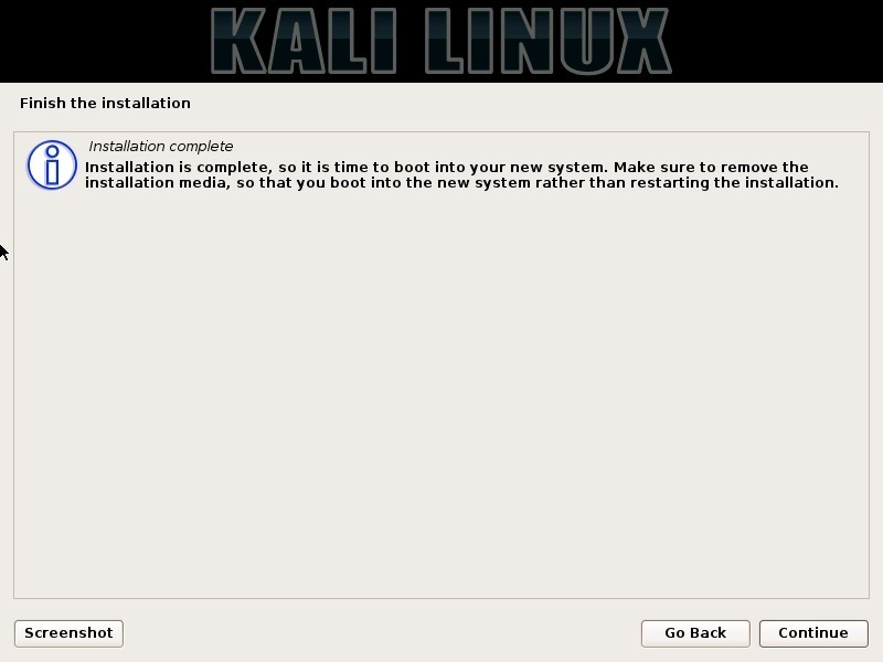 Kali Linux Installation complete dialog box screenshot