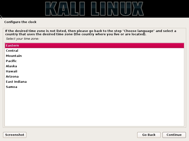 Kali Linux installation - Configure clock dialog box screenshot