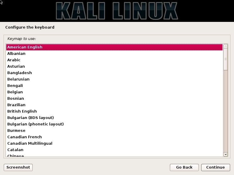 Kali Linux installation - Configure the keyboard dialog box screenshot