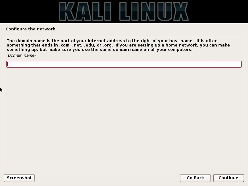 Kali linux installation - Configure Network Domain name dialog box screenshot