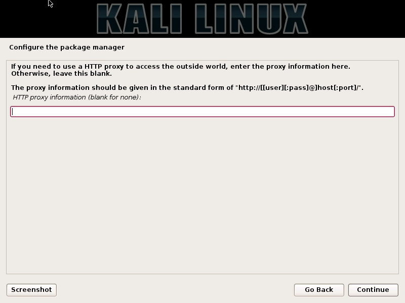 Click Image to EnlargeKali Linux installation - Configure package manager HTTP proxy settings dialog box screenshot.