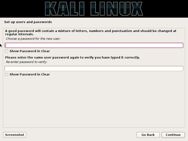 Kali linux installation enter user password dialog box screenshot