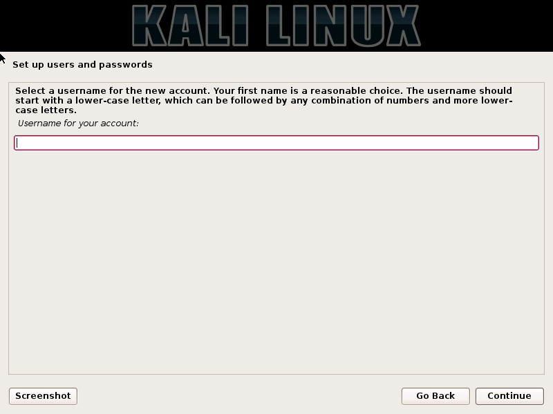 Kali linux installation - Enter username dialog box screenshot
