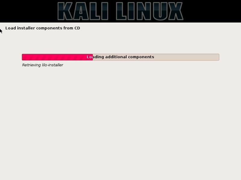 Kali Linux installation progress screenshot