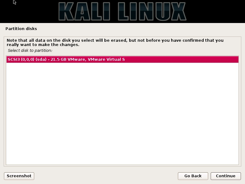 Kali Linux installation - Select disk to partition dialog box screenshot