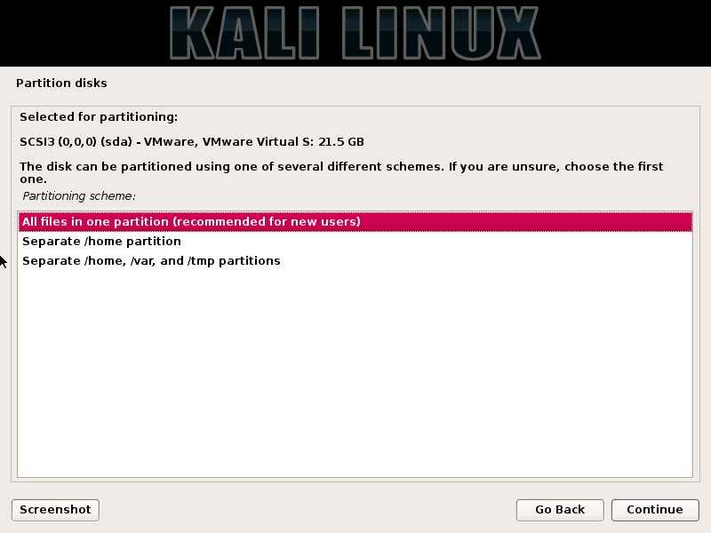 Kali Linux installation - Select partition scheme dialog box screenshot