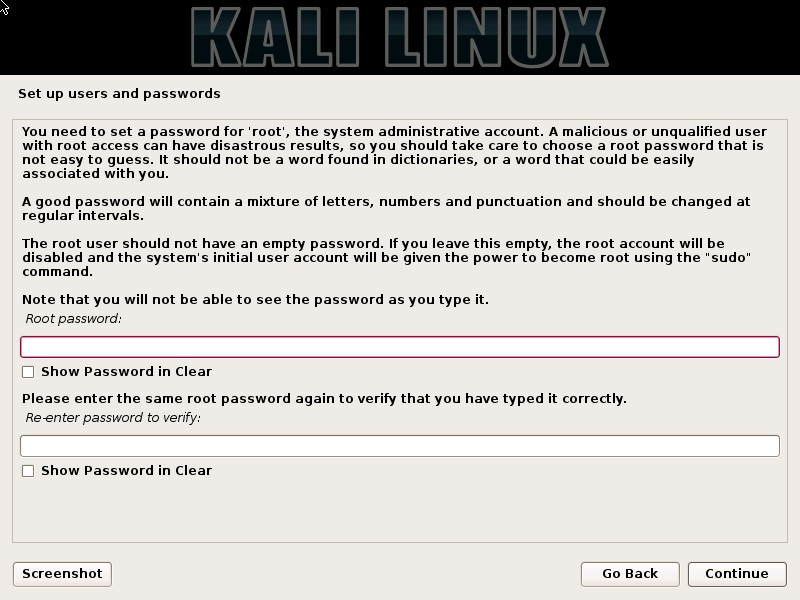 Kali linux installation - Set password for root user dialog box screenshot