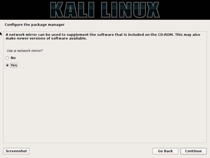 Kali Linux installation - Use a network mirror dialog box screenshot