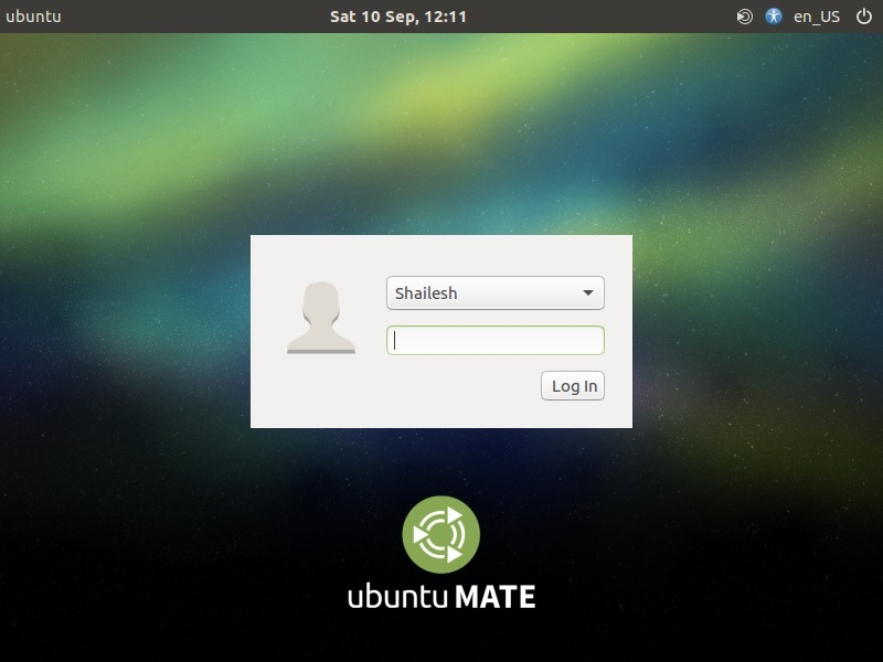 Ubuntu Mate login screenshot