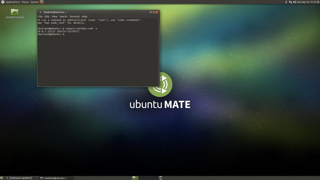 Ubuntu Mate VMware tool version check screenshot