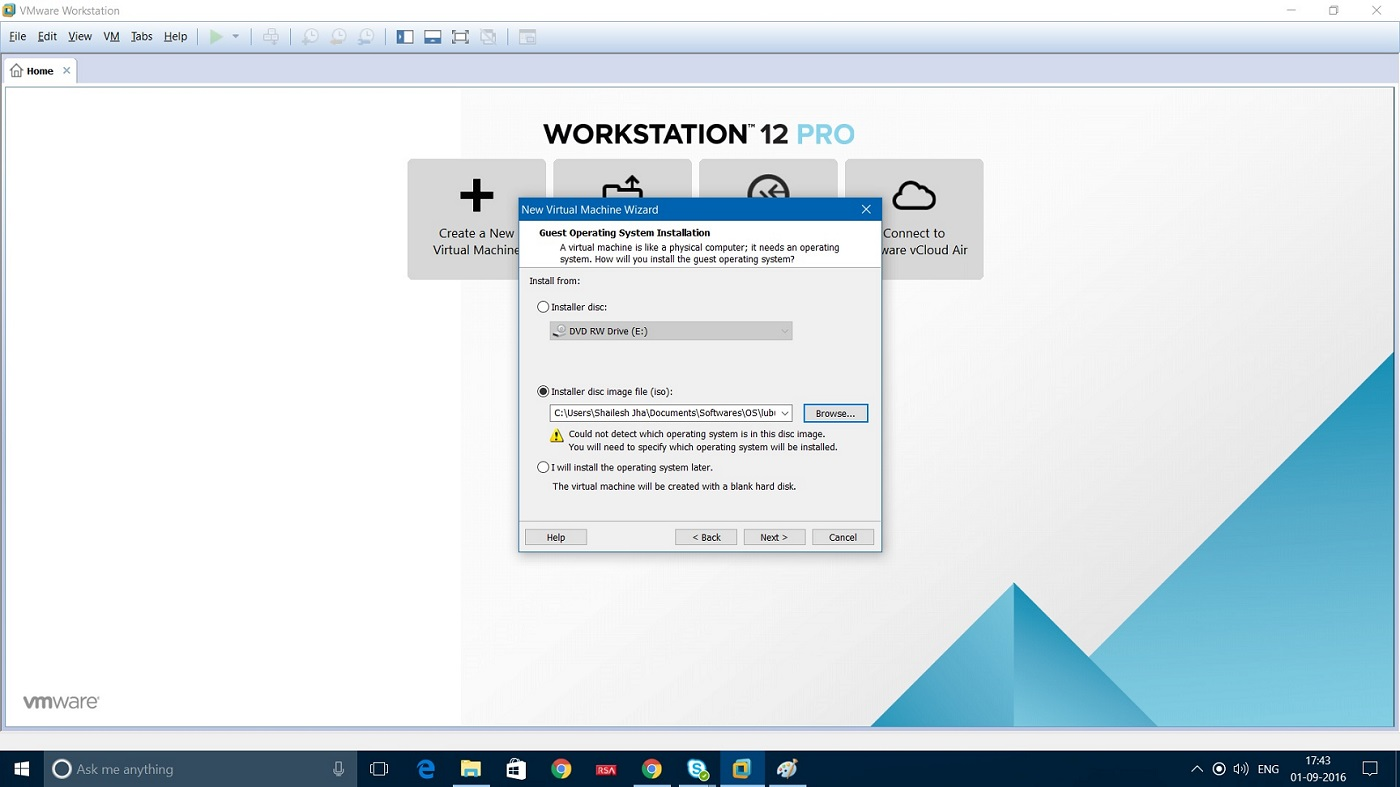 VMWare Workstation 12 select Lubuntu ISO file screenshot