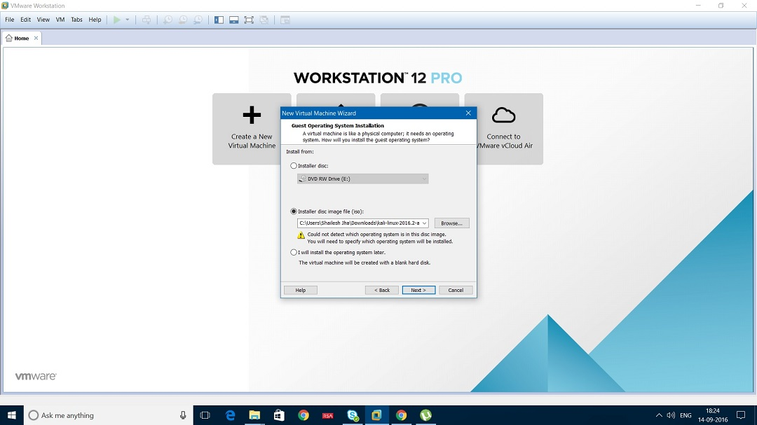 VMware Workstation 12 select installer disc image file dialogbox screenshot