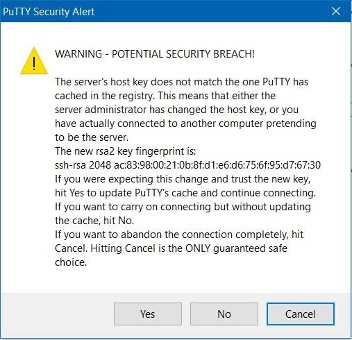 Putty Security Warning Screenshot