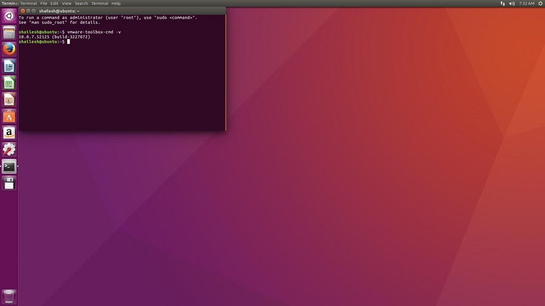 VMware Workstation 12 install ubuntu check VMare tools version screenshot