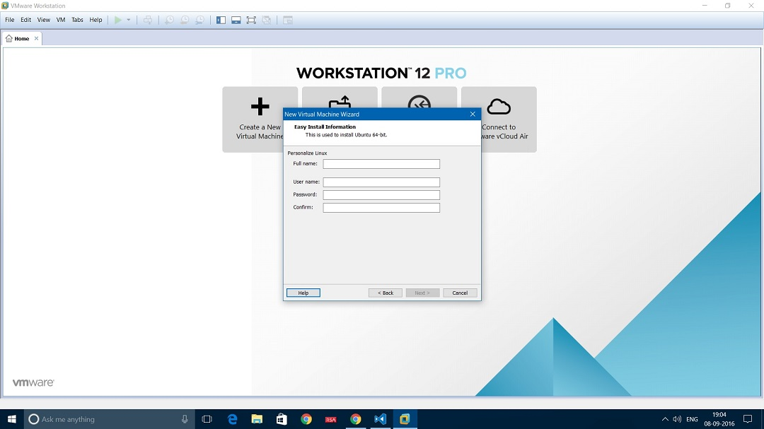 VMware Workstation 12 install ubuntu desktop personalize linux dialog box