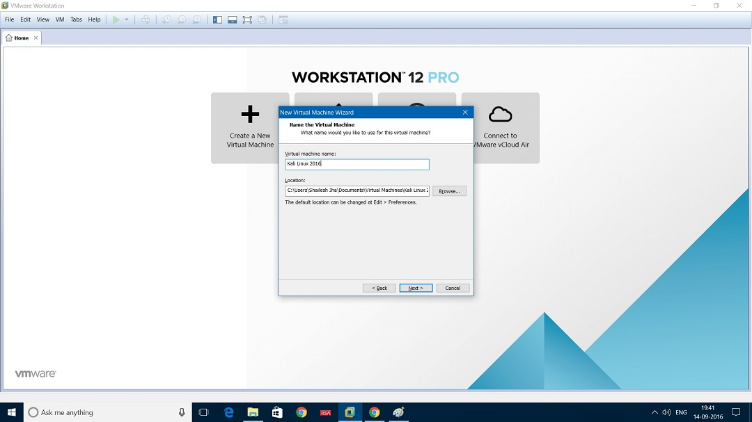 VMware Workstation 12 - Set virtual machine name and location dialog box screenshot